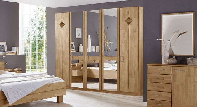 Teilmassiver Spiegel-Kleiderschrank Aliano aus Erlenholz