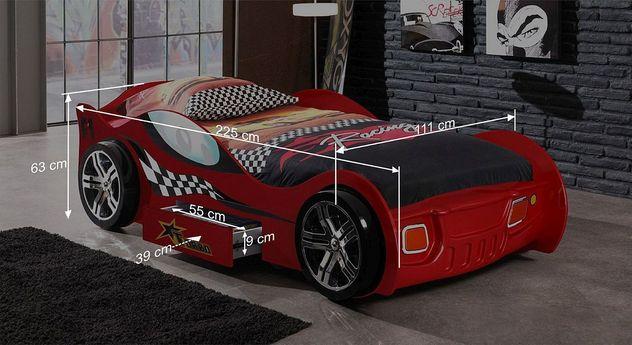 Autobett Drift rots Bemaßungsgrafik