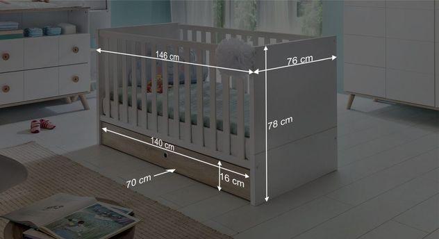 Informative Maßgrafik zum Babybett Beano