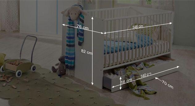 Bemaßungsgrafik zum Babybett Los Pinos