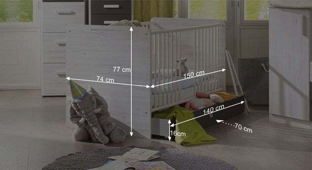 Babybett Meretos Bemaßungsgrafik