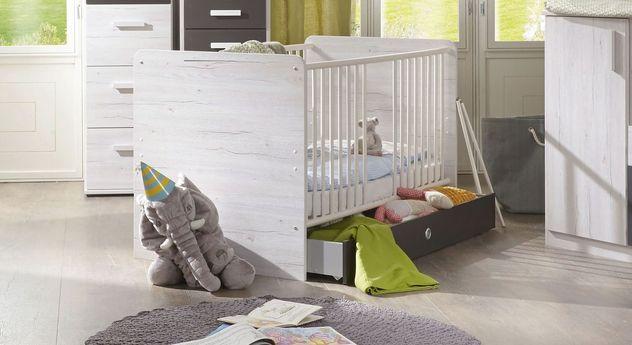 Praktisches Babybett Mereto optional mit Bettschublade