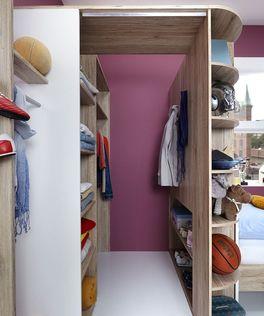 Begehbarer Eck-Kleiderschrank Zagra mit Stauraum fürs Kinderzimmer