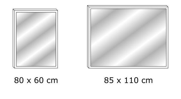 Bemaßungsgrafik für Wandspiegel