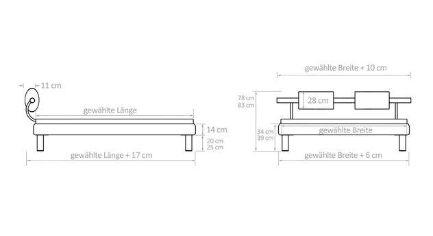 Bemaßungs-Grafik für Bett Rocio
