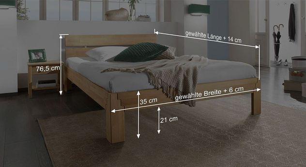 Bett Aargau mit Bemaßungs-Skizze