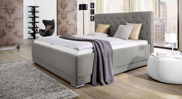 Graues Bett Atella aus feinem Webstoff