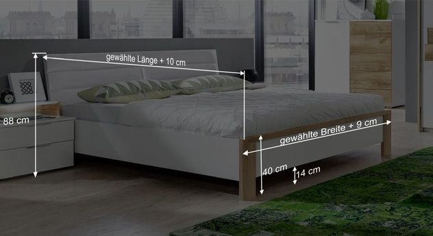Bett Bellegras Bemaßungsgrafik