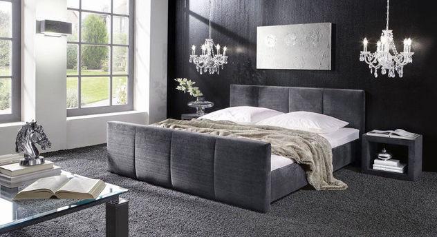 Bett Caserta mit Stoff in Grau