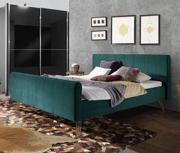 Hochwertiges Bett Celica mit weichem Samtbezug