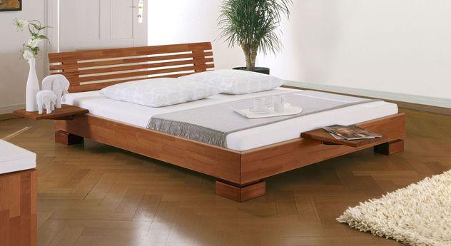 Kirschbaumfarbenes Bett Como mit erhöhtem Rahmen