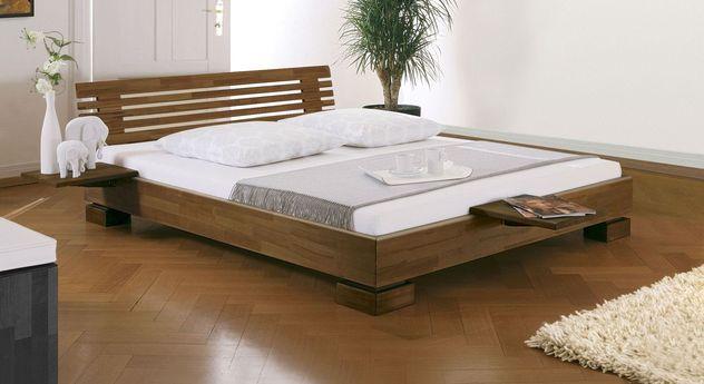 Nussbaumfarbenes Bett Como mit abgerundetem Rahmen
