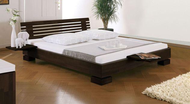 Wengefarbenes Bett Como mit 18 cm Rahmenhöhe