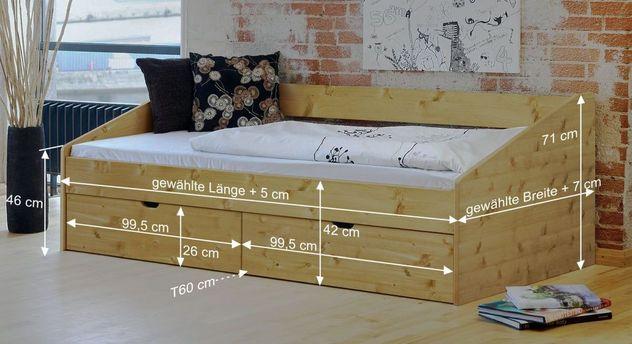 Bemaßungs-Skizze des Bettes Dänemark