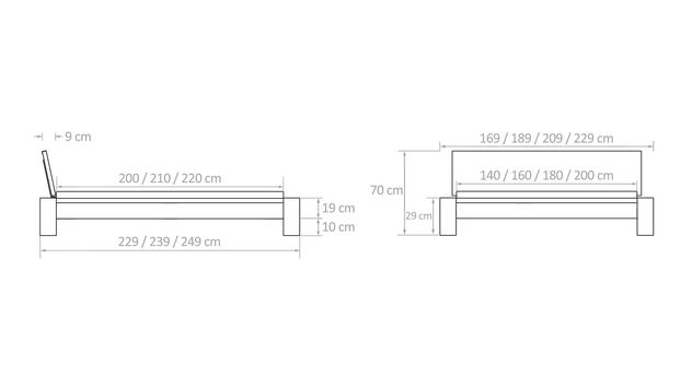Bemaßungsskizze des Bettes Domingo