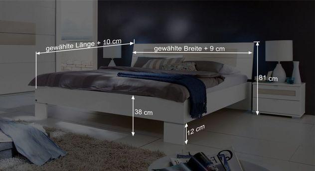 Bett Filettos Bemaßungsgrafik