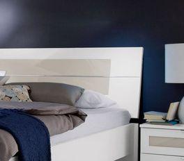 Bett Filetto inklusive Kopfteil mit modernem Glaseinsatz