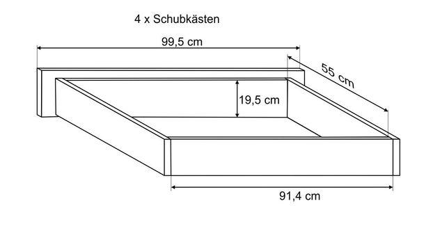 Bemaßungsskizze des Schubkastens des Bettes Finnland