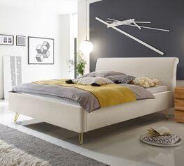 Bett Floreta mit kalkfarbenem Webstoffbezug