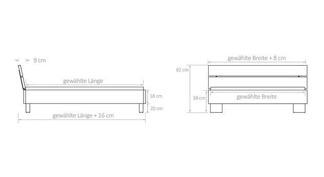 Bemaßungs-Grafik zum Bett Fuego