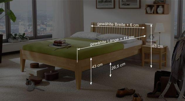 Bemaßungsgrafik vom Bett Glarus