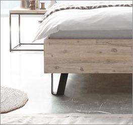 Bett Imatras anthrazitfarbene und pulverbeschichtete Metallfüße