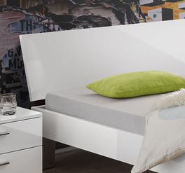 Bett Kamea mit glänzendem MDF-Kopfteil