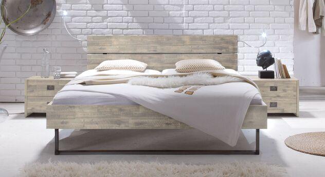 Helles Bett Konna aus weißer Akazie