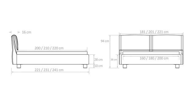 Bemaßungsskizze für Betten mit aufklappbarem Kopfteil