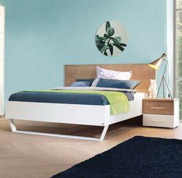 Bett Lania Design Alpinweiß mit Eiche Dekor