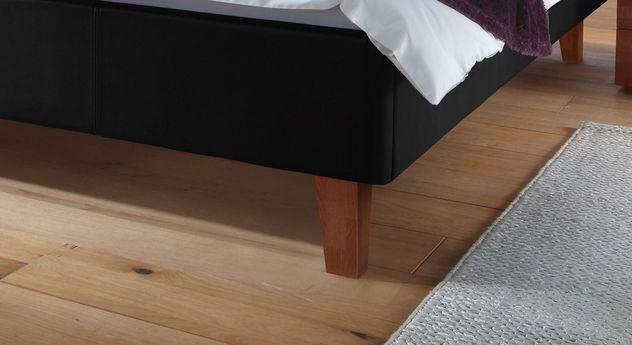 Bett Lopo mit Bettfüße aus kirschbaumfarbiger Buche