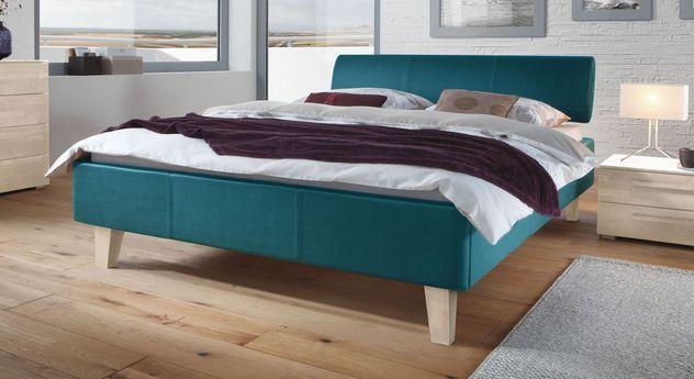 Petrolfarbenes Bett Lopo mit weißen Füßen