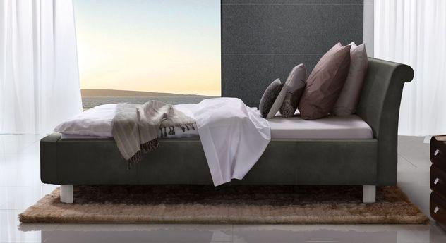 Anthrazitfarbenes Bett Macuma mit 20 cm Fußhöhe