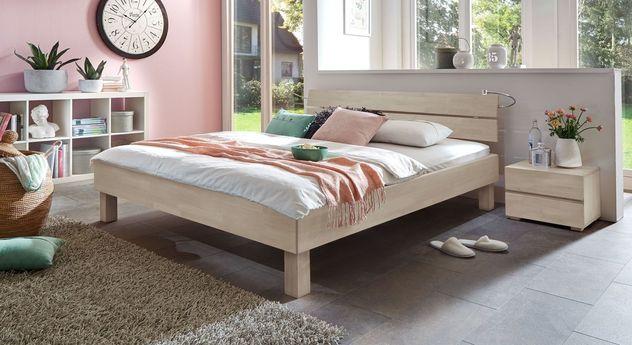 Bett Madrid in Buche weiß mit Komfortrahmenhöhe