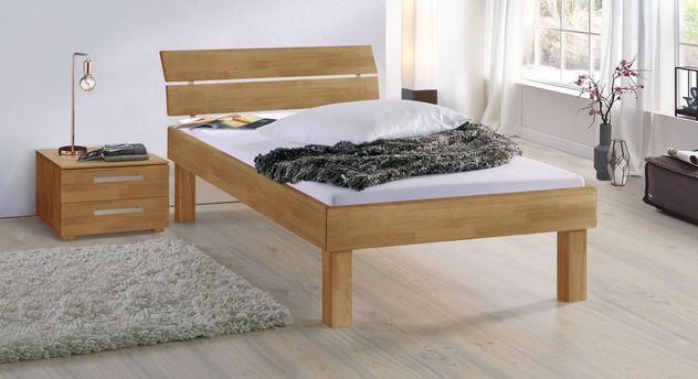 Bett Madrid Komfort aus Buche natur in 30 cm Höhe
