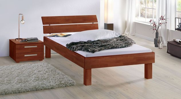 Kirschbaumfarbenes Bett Madrid Komfort in 25 cm Höhe