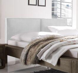 Bett Maia mit weißem Kunstlederbezug