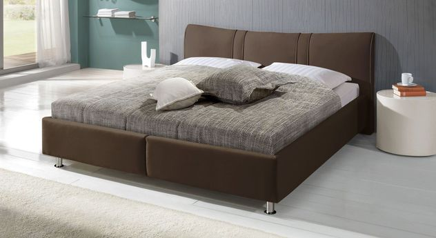 Stylisches Bett Messina aus dunkelbraunem Kunstleder