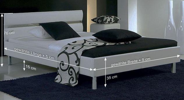 Bemaßungsgrafik zum Bett Napoli