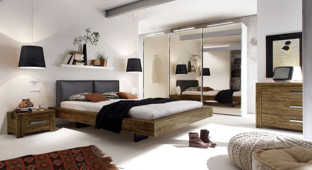doppelbett schwebend aus akazie gefertigt penco. Black Bedroom Furniture Sets. Home Design Ideas