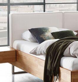 Bett Rebus mit Kopfteil aus meliertem Webstoff