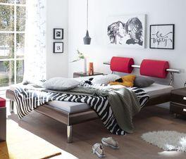 Modernes Bett Rocio mit Chrom-Elementen