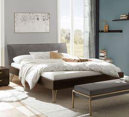 Stilvolles Bett Sirell aus verschiedenen Materialien