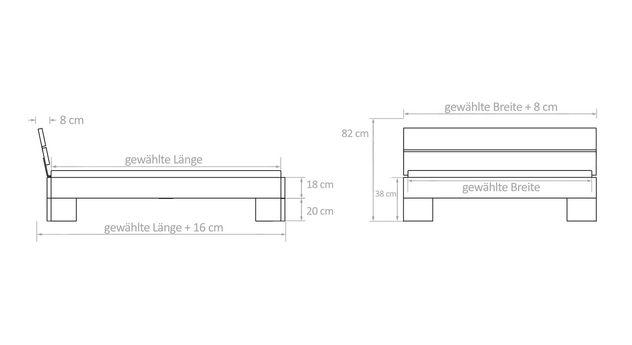 Bemaßungs-Grafik zum Bett Titao