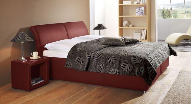 Modernes Bett Trapani aus dunkelrotem Kunstleder