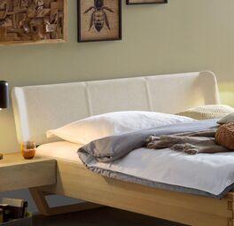 Bett Ubaldo mit elegantem Polster-Kopfteil mit Veloursstoffbezug