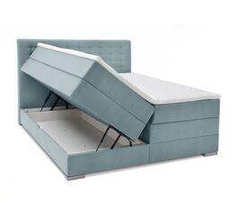 Bettkasten-Boxspringbett Agulo mit eisblauem Stoffbezug