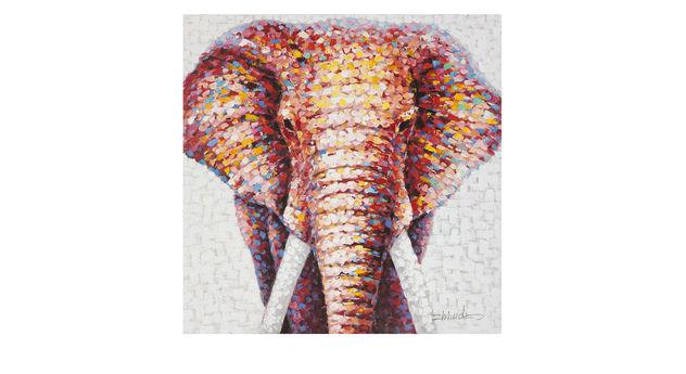 Uniques Acrylfarben-Bild Elephant im Afrikalook