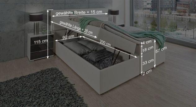 Praktisches Boxbett Sinopoli mit Maßgrafik