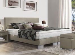 Boxspring-Base Polar hier mit optionaler Matratze und Topper